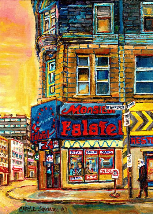Montreal Greeting Card featuring the painting Monsieur Falafel by Carole Spandau