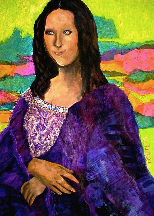 Fine Art Greeting Card featuring the painting Montage Mona Lisa by Laura Grisham