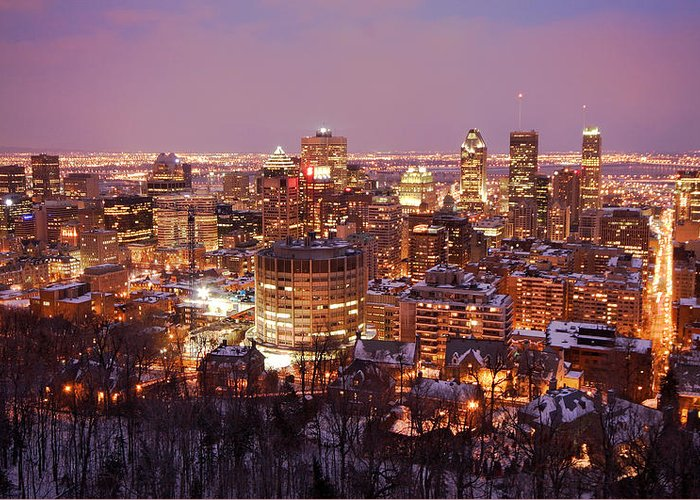 Montreal Greeting Card featuring the photograph Montreal City Lights by Pierre Leclerc Photography