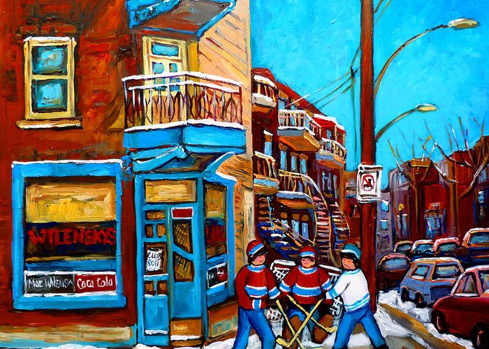 Montreal Greeting Card featuring the painting Montreal City Scene Hockey At Wilenskys by Carole Spandau