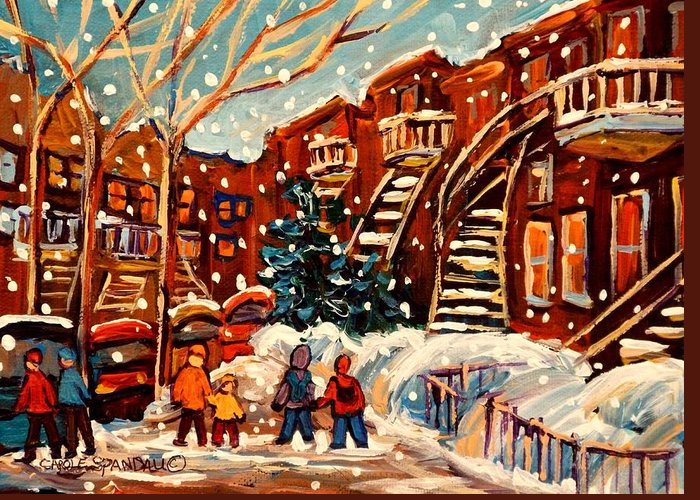 Montreal Greeting Card featuring the painting Montreal Street In Winter by Carole Spandau