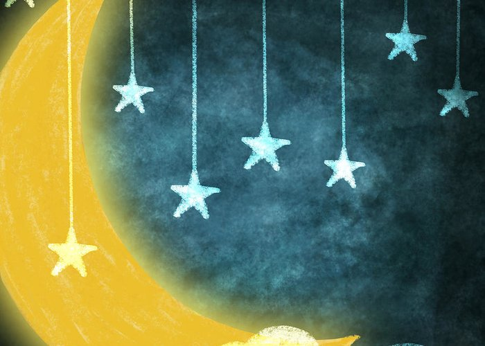 Art Greeting Card featuring the painting Moon And Stars by Setsiri Silapasuwanchai