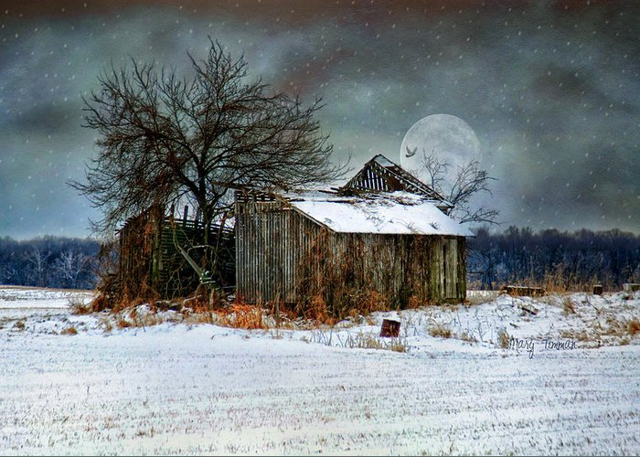 Moon Greeting Card featuring the photograph Moon Light Barn by Mary Timman