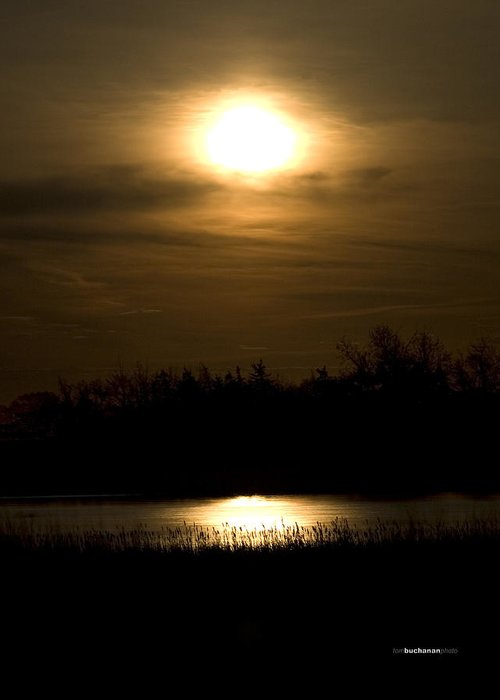 Moon Greeting Card featuring the photograph Moon Over The Pond by Tom Buchanan