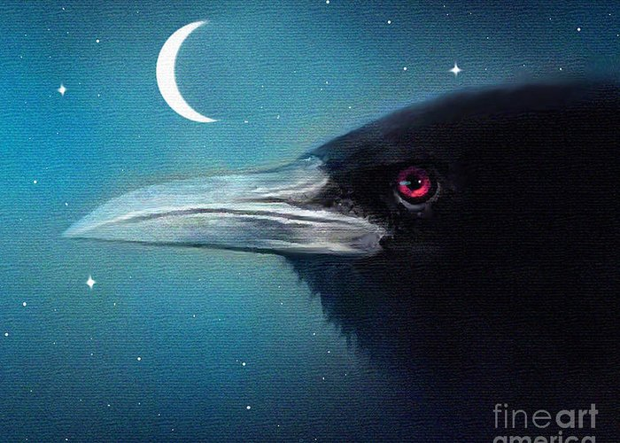 Crow Greeting Card featuring the painting Moon Raven by Robert Foster