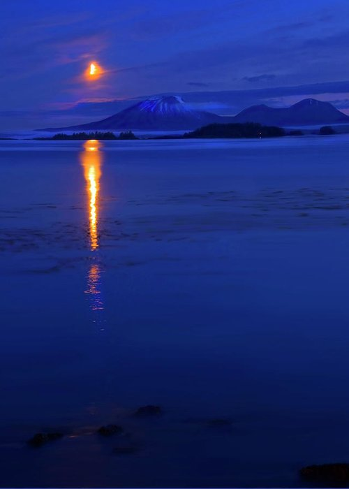 Mt. Edgecumbe Greeting Card featuring the photograph Moon Rise Over Mt. Edgecumbe by Mike Dawson