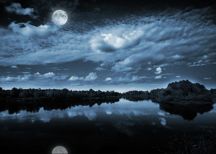 Beautiful Greeting Card featuring the photograph Moonlight Over A Lake by Jaroslaw Grudzinski