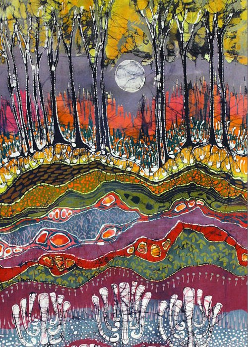 Batik Greeting Card featuring the tapestry - textile Moonlight Over Spring by Carol Law Conklin