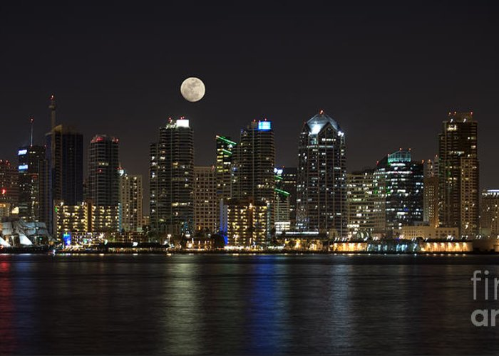 Panorama Greeting Card featuring the photograph Moonrise Over San Diego by Sandra Bronstein