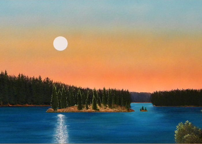 Landscape Greeting Card featuring the painting Moonrise Over The Lake by Frank Wilson