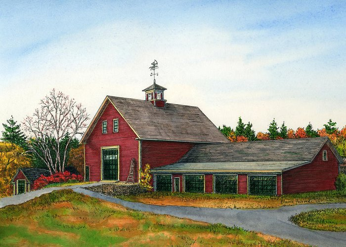 Londonderry Greeting Card featuring the painting Moose Hill Barn by Elaine Farmer
