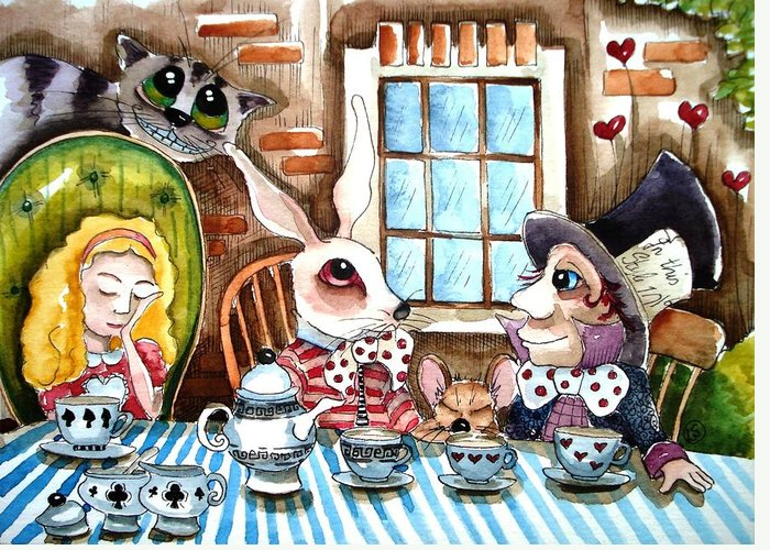 Alice Wonderland White Rabbit Mouse Hatter Cheshire Cat Window Table Cloth Tea Teacup Teapot Heart Brick Tree Chair Greeting Card featuring the painting More Tea by Lucia Stewart