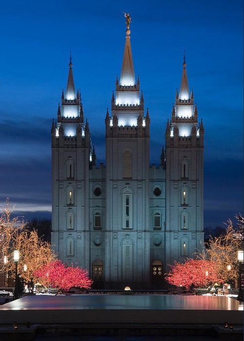 Christmas Greeting Card featuring the photograph Mormon Temple Christmas Lights by Utah Images