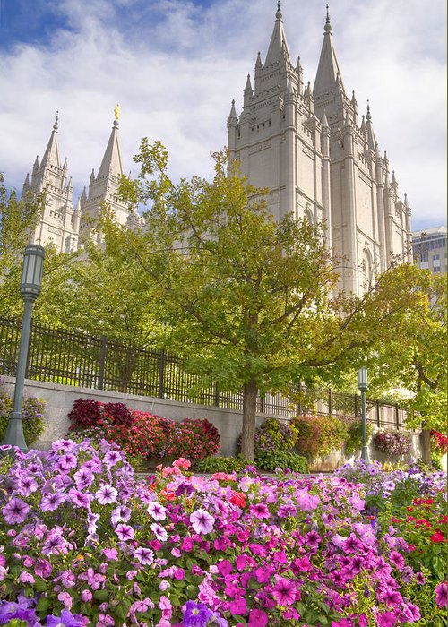 Mormon Greeting Card featuring the photograph Mormon Temple Salt Lake City by Utah Images