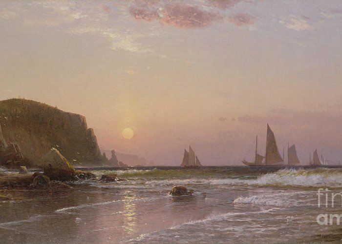 Canadian Greeting Card featuring the painting Morning At Grand Manan by Alfred Thompson Bricher
