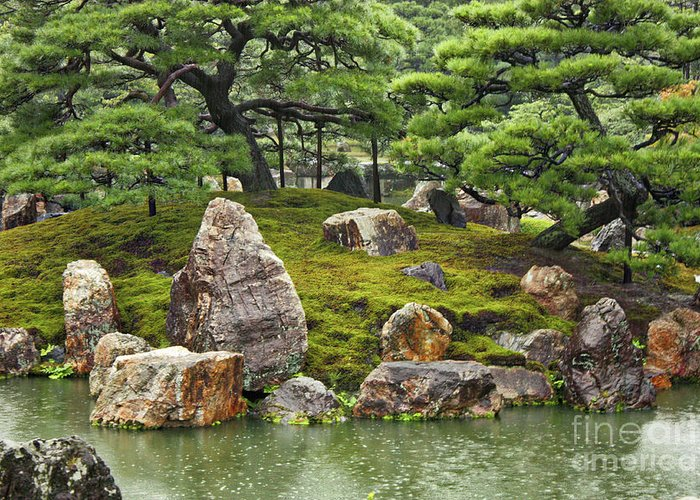 Japanese Garden Greeting Card featuring the photograph Mossy Japanese Garden by Carol Groenen