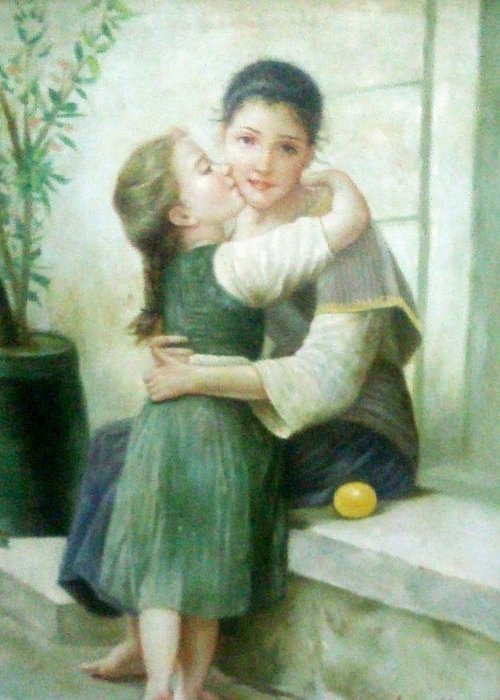 Mother Greeting Card featuring the painting Mother And Daughter by Unique Consignment