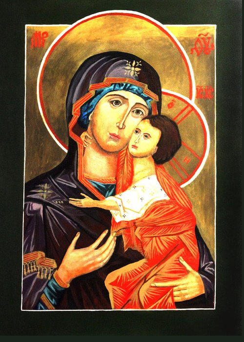 Religious Icon Greeting Card featuring the painting Mother Of God Antiochian Orthodox Icon by Patrick Kelly