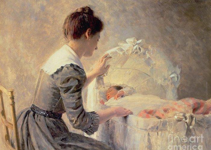 Motherhood Greeting Card featuring the painting Motherhood by Louis Emile Adan