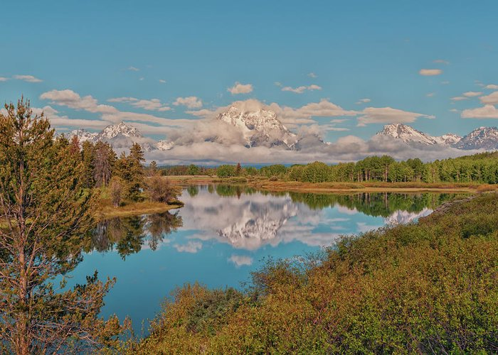 Mount Moran On Snake River At Oxbow Bend Grand Teton National Park Greeting Card featuring the photograph Mount Moran On Oxbow Bend by Brian Harig
