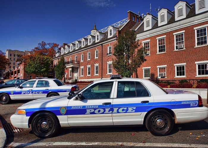 Police Greeting Card featuring the photograph Mount Vernon Police Department by June Marie Sobrito