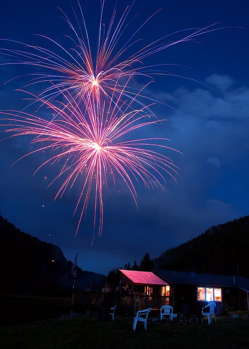 Fireworks Greeting Card featuring the photograph Mountain Fireworks Landscape by James BO Insogna
