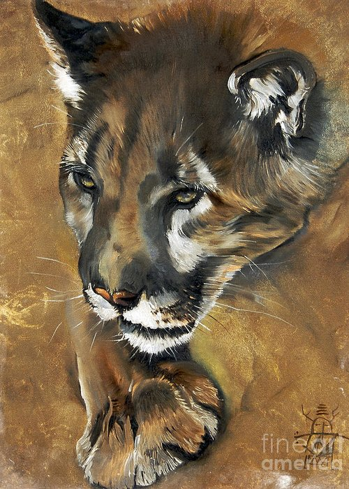 Southwest Art Greeting Card featuring the painting Mountain Lion - Guardian Of The North by J W Baker