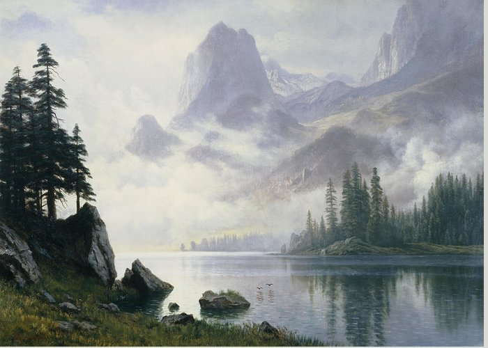 Lake; Mountains; Mountainous; American; Landscape; Misty; Fog; Foggy; Atmospheric Greeting Card featuring the painting Mountain Out Of The Mist by Albert Bierstadt
