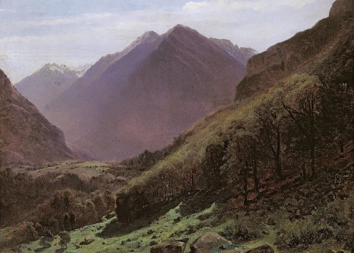 Mountain Greeting Card featuring the painting Mountain Study by Alexandre Calame