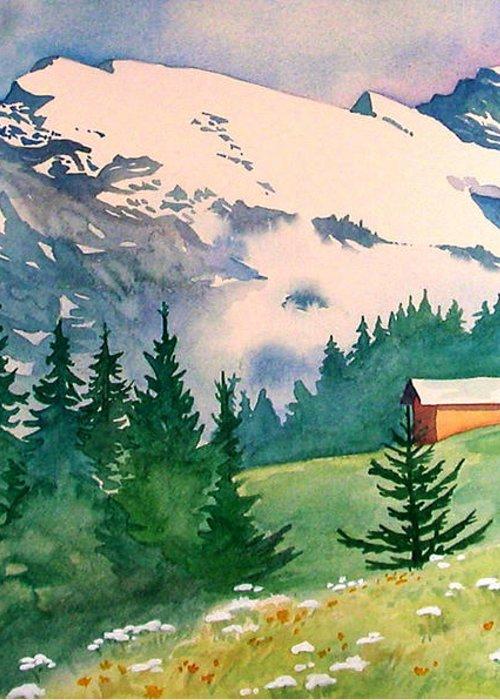 Murren Greeting Card featuring the painting Murren Switzerland by Scott Nelson