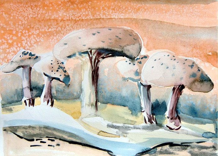 Mushrooms Greeting Card featuring the painting Mushroom Heaven by Mindy Newman