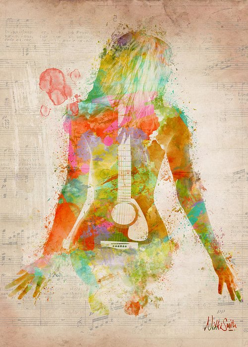 Guitar Greeting Card featuring the digital art Music Was My First Love by Nikki Marie Smith