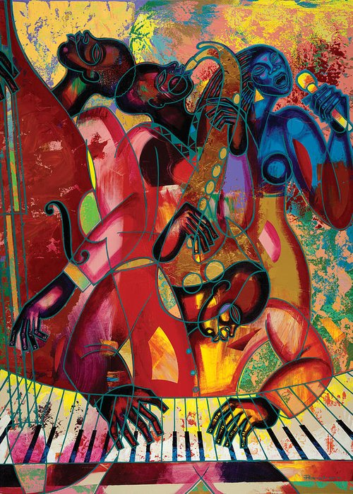 Figurative Greeting Card featuring the painting Musicfest by Larry Poncho Brown