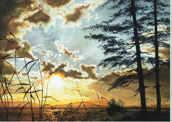 Lake Greeting Card featuring the painting Muskoka Dawn by Hanne Lore Koehler