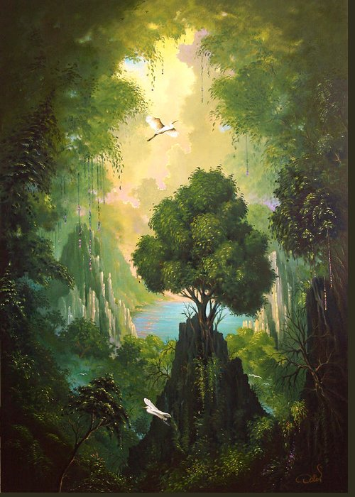 Landscape Greeting Card featuring the painting My Eden by Hans Doller