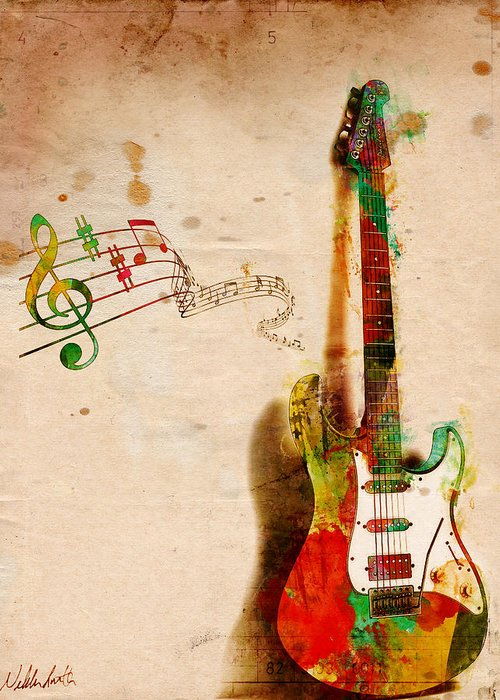 Guitar Greeting Card featuring the digital art My Guitar Can Sing by Nikki Smith