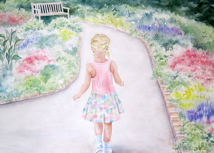 Girl Greeting Card featuring the painting My Little One by Deborah Ronglien