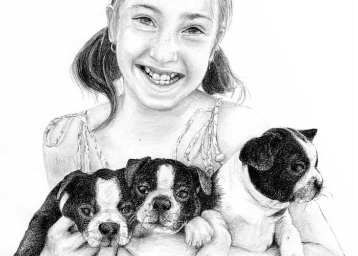 Girl Greeting Card featuring the drawing My Puppies by Mike Ivey