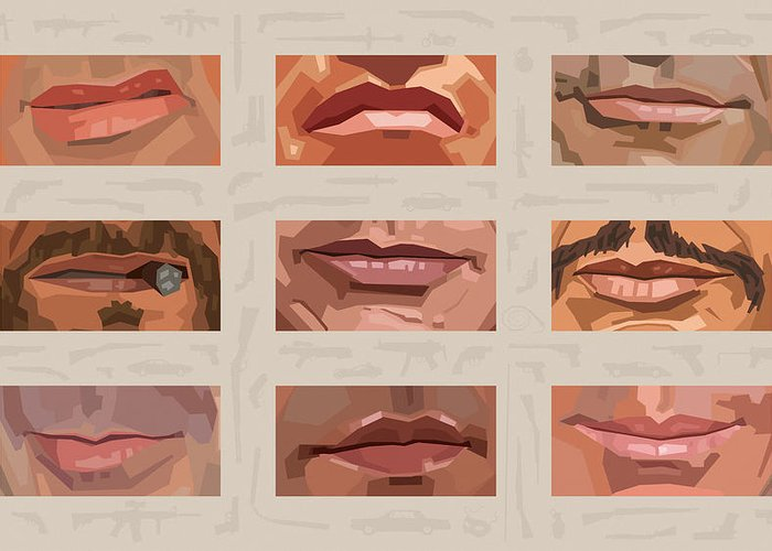 Stallone Schwarzenegger Greeting Card featuring the digital art Mystery Mouths Of The Action Genre by Mitch Frey