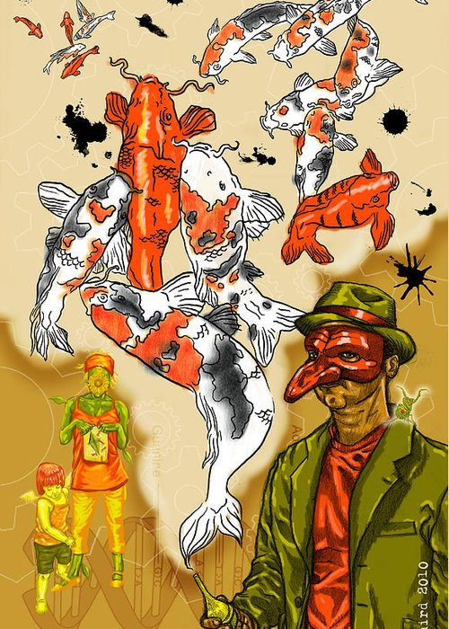 Surrealism Dream-scape Symbolism Iconography Koi Mantis Gears Dna Kite Mask Hat Greeting Card featuring the drawing Mystic by Baird Hoffmire