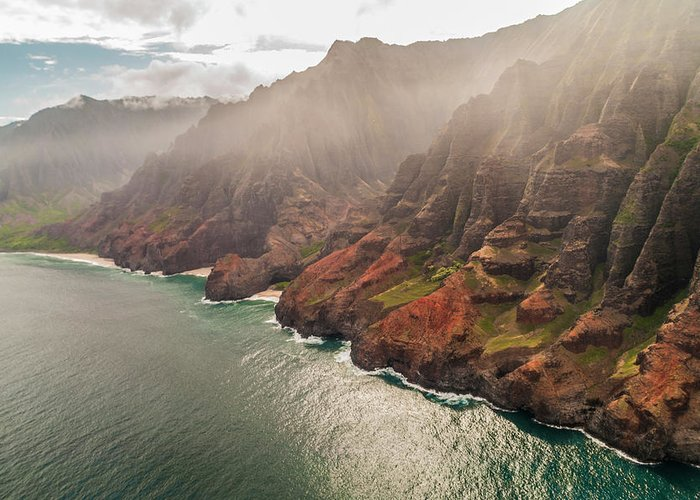 Na Pali Coast Pacific Ocean Kauai Island Hawaii Seascape Greeting Card featuring the photograph Na Pali Coast 4 - Kauai Hawaii by Brian Harig