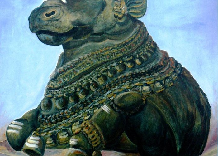 Stone Paintings Greeting Card featuring the painting Nandi by Murali