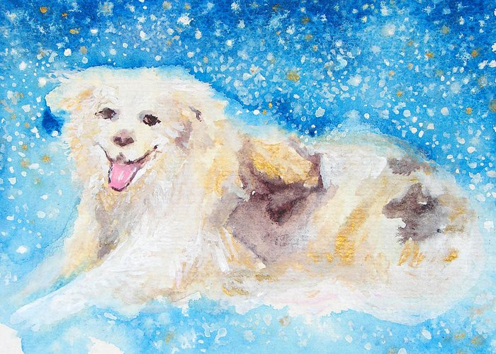 Dog Greeting Card featuring the painting Nanny Bliss by Ashleigh Dyan Bayer