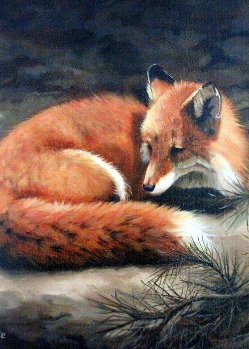Red Fox Greeting Card featuring the painting Naptime In The Pine Barrens by Sandra Chase