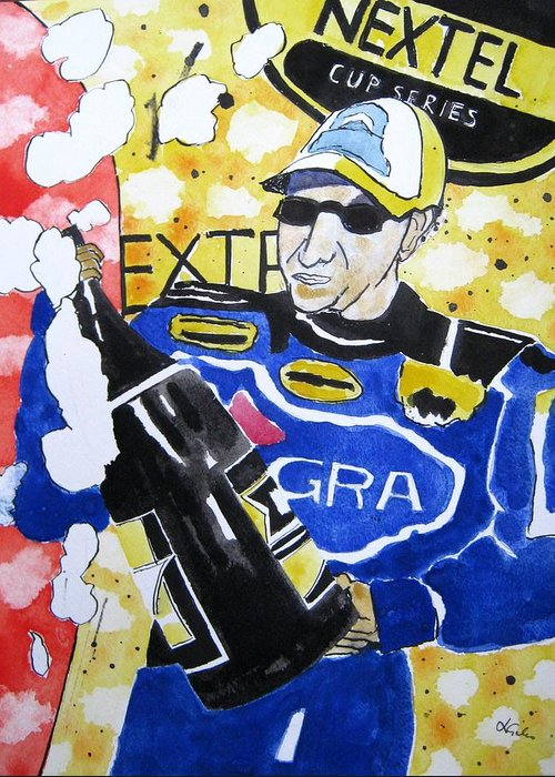 Nascar Greeting Card featuring the painting Nascar Mark Martin by Lesley Giles