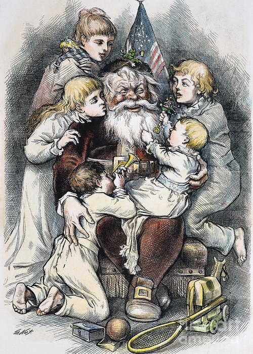 19th Century Greeting Card featuring the photograph Nast: Christmas, 1879 by Granger