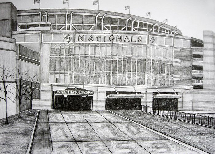Nationals Park Greeting Card featuring the drawing Nationals Park by Juliana Dube