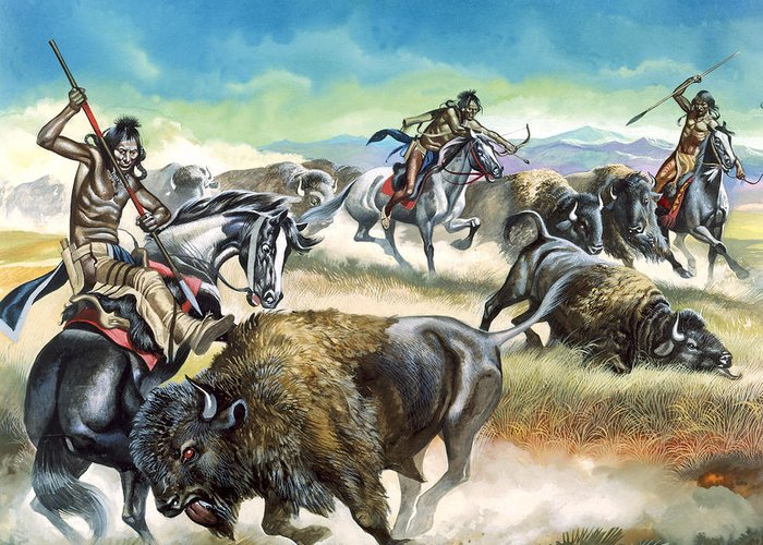 Native Greeting Card featuring the painting Native American Indians Killing American Bison by Ron Embleton