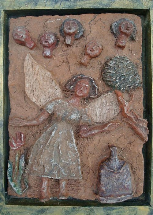 Clay Greeting Card featuring the relief Natividad 1 by Lorna Diwata Fernandez