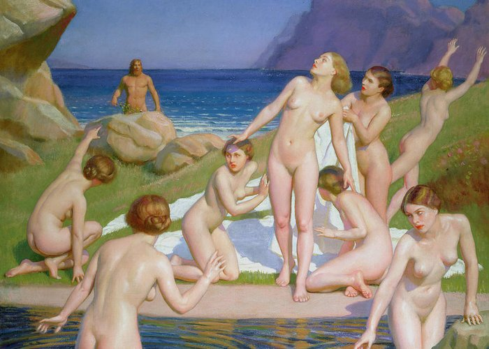 Naked Greeting Card featuring the painting Nausicaa by William McGregor Paxton